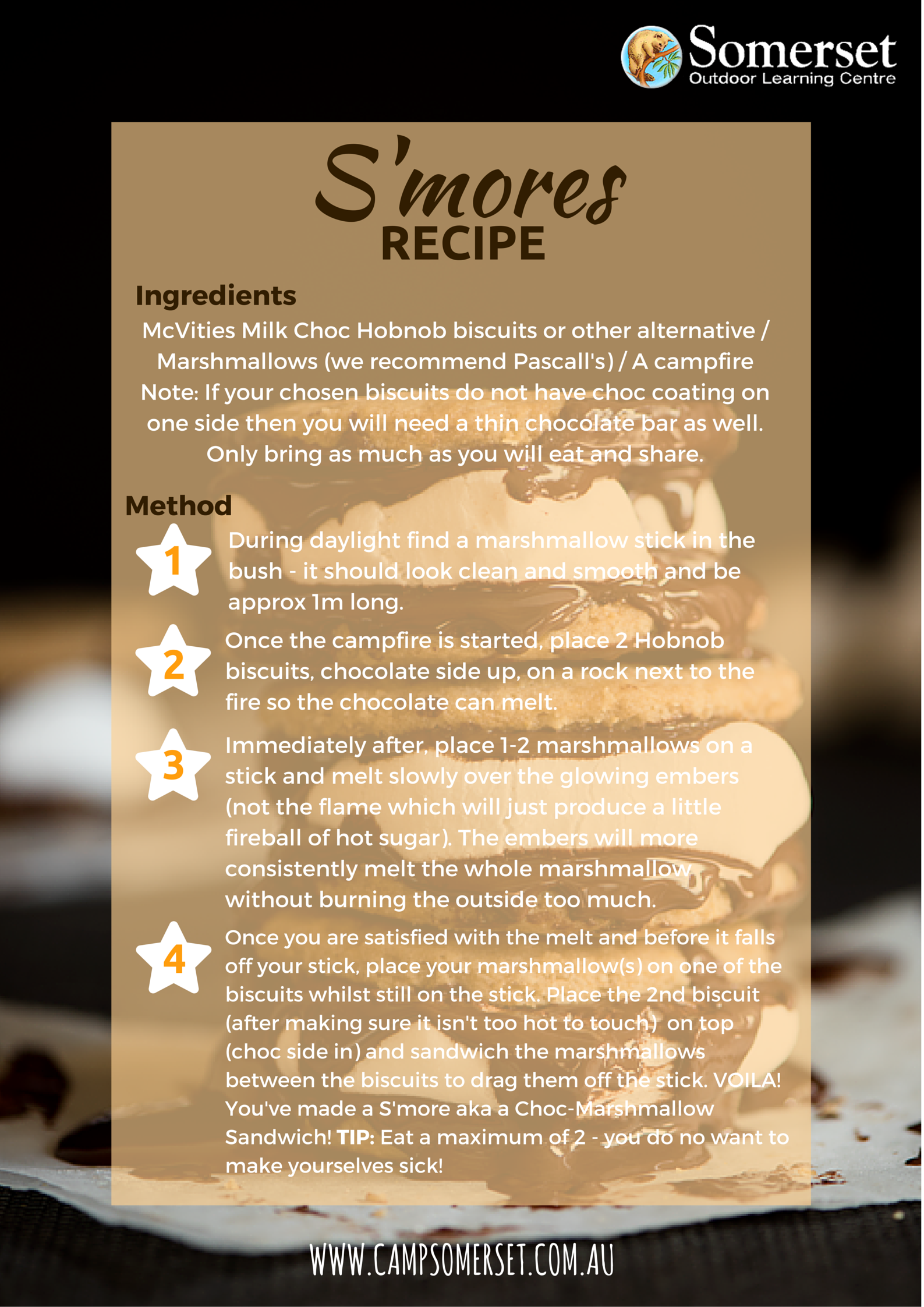 Image Smores Recipe Card